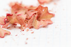 Pencil shavings on white paper. close Royalty Free Stock Images
