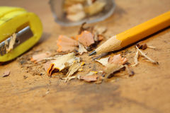 Pencil with shavings Royalty Free Stock Photo