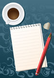 Pencil sheet cofe. Blank sheet of paper with a pencil and a cup of coffee Stock Photos