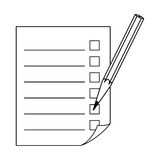 Pencil and a sheet with a list. Royalty Free Stock Images