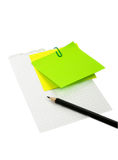 Pencil on the sheet of paper. With post-it Royalty Free Stock Photography