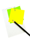 Pencil on the sheet of paper. With post-it Stock Photo