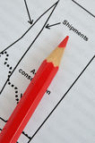 Pencil on shipment analysis chart Royalty Free Stock Images
