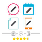 Pencil sign icon. Edit content button. Royalty Free Stock Image