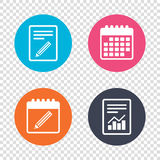 Pencil sign icon. Edit content button. Report document, calendar icons. Pencil sign icon. Edit content button. Transparent background. Vector Stock Photography
