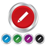 Pencil sign icon. Edit content button. Round metallic buttons Stock Image