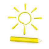 In pencil sign of the sun - a symbol of childhood Stock Photos