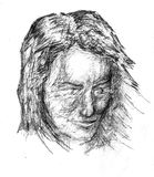 Pencil sketch. Woman portrait hand drawn sketch Royalty Free Stock Image
