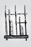 Pencil sketch, bamboo flute Royalty Free Stock Photos
