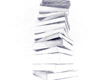Pencil sketch of books Stock Images