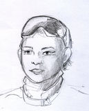 Pencil sketch of a boy with glasses Royalty Free Stock Image