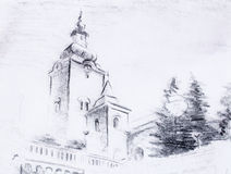 Pencil sketch church, drawing on vintage paper. Royalty Free Stock Photos