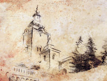 Pencil sketch church, drawing on vintage paper. Stock Photography