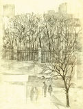Pencil sketch of the cityscape. Park fence along road Stock Photos