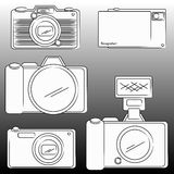 The pencil sketch of DSLR and Camera Stock Photos