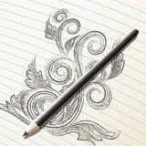 Pencil sketch. Illustration with pencil on the open sketchbook drawn in realistic style vector illustration