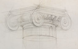 Pencil sketch of ionic capital column Royalty Free Stock Photography
