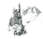 Pencil Sketch of Neuschwanstein stock illustration