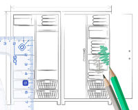 Pencil sketch of an open wardrobe Stock Image