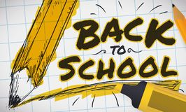 Pencil in Sketch Painted with Marker for Back to School, Vector Illustration Royalty Free Stock Photography