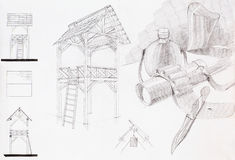 Pencil sketch of pavilion and composition with objects Royalty Free Stock Photo