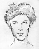 Pencil sketch of a scrawny man's face. Hand drawn pencil sketch of a scrawny man's face. There's stubble on his chin and his hair are ruffled Stock Photos