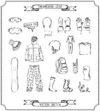 Pencil sketch of snowboard gear. Stock Image