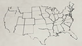 Pencil sketch of the United States map (Animation).  stock footage