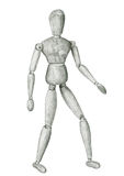 Pencil sketch wooden figure standing. Pencil sketch drawing wooden figure standing man  on white Stock Image