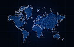 Pencil Sketch Of World Map Over Blue Background. Map Traced From http://www.openstreetmap.org/#map=2/42.2/-9.8 Royalty Free Stock Photo