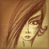 Pencil sketch of young girl Royalty Free Stock Photography