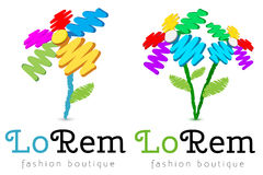 Pencil sketched flowers logo template set Royalty Free Stock Images