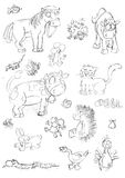 Pencil sketches of animals of the horse mouse cat and snake farm Stock Photos
