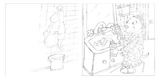 Pencil sketches beaver in pajamas brushing teeth Stock Photo