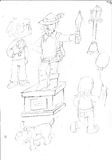 Pencil sketches with child eating ice cream dog statue, streetlamp, boy with balloon Royalty Free Stock Photo
