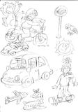 Pencil sketches day cars and airplanes and motorcycles with biker dog Stock Photos