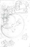 Pencil sketches day moon stars with Santa`s sleigh and reindeer upward Stock Photos