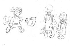 Pencil sketches dog and little girl with games baby shoes Royalty Free Stock Images