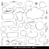 Pencil sketches. Hand drawn scribble shapes. A set of doodle lin Stock Photo