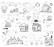 Pencil sketches. Hand drawn scribble shapes. Stock Photography