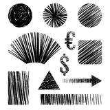 Pencil sketches.Hand drawn scribble shapes  Stock Image