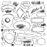 Pencil sketches.Hand drawn scribble shapes Royalty Free Stock Photography