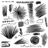 Pencil sketches.Hand drawn scribble shapes Royalty Free Stock Images