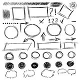 Pencil sketches.Hand drawn scribble shapes A set of doodle line Stock Photos