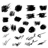 Pencil sketches.Hand drawn scribble shapes A set of doodle line Royalty Free Stock Photos