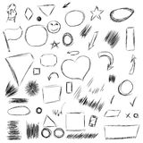 Pencil sketches.Hand drawn scribble shapes A set of doodle line Stock Images
