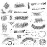 Pencil sketches.Hand drawn scribble shapes. A set of doodle line Stock Photos