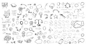 Pencil sketches. Hand drawn scribble shapes. Royalty Free Stock Photo