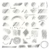 Pencil sketches.Hand drawn scribble shapes. Royalty Free Stock Photos