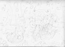 Pencil sketches mermaid with friends mermaids underwater world Royalty Free Stock Images